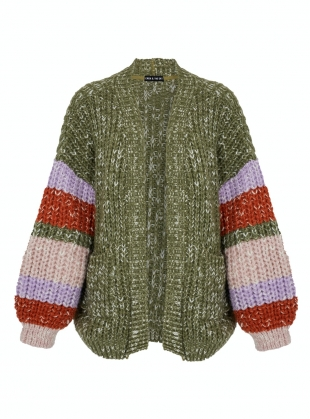 Young British Designers: ALLIE STRIPE SLEEVE CARDIGAN. Khaki - Sold out by Cara & The Sky