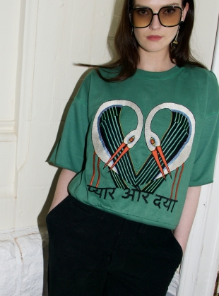 GREEN SWEATSHIRT. Embroidered Storks by Tallulah & Hope