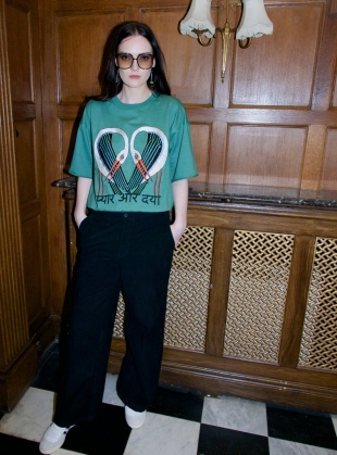 Young British Designers: GREEN SWEATSHIRT. Embroidered Storks - Last one (14) by Tallulah & Hope