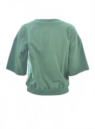 Young British Designers: GREEN SWEATSHIRT. Embroidered Storks by Tallulah & Hope
