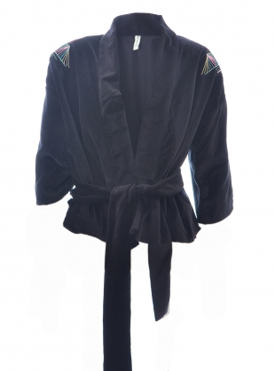 Young British Designers: Black Embroidered KIMONO JACKET - last one (14) by Tallulah & Hope