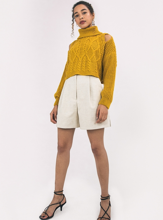 Young British Designers: MIMI CROP YELLOW JUMPER by Cara & The Sky