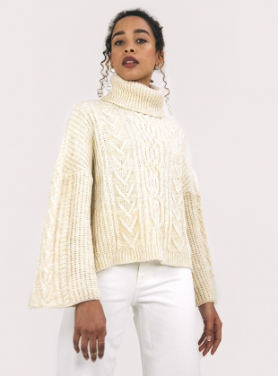 CORAL JUMPER. Winter White by Cara & The Sky