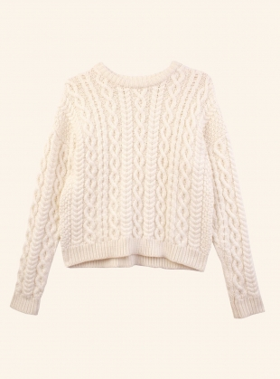Young British Designers: MAYFLOWER CABLEKNIT JUMPER. Ecru by Meadows