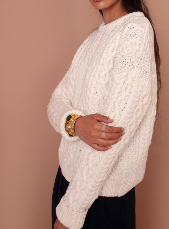 Young British Designers: MAYFLOWER CABLEKNIT JUMPER. Ecru - Last one (10) by Meadows