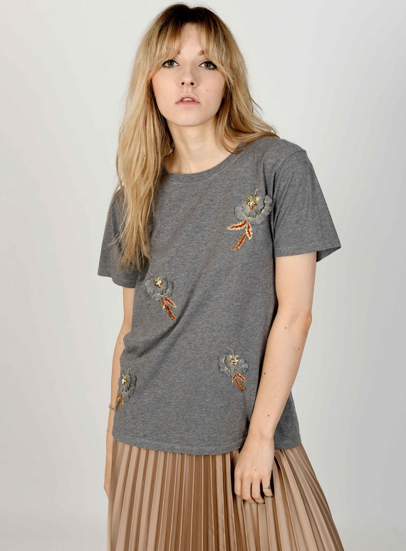 Young British Designers: GIA Hand-Embellished Grey T-Shirt - last one (s) by Sophie Pittom