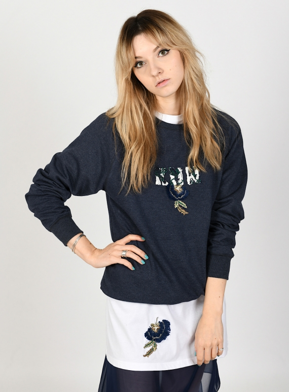 Young British Designers: Navy Blue KEEP ME NEAR Hand-Embellished Sweatshirt - last one (xl) by Sophie Pittom