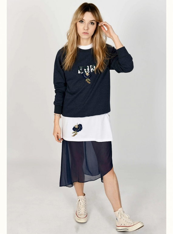 Navy Blue KEEP ME NEAR Hand-Embellished Sweatshirt by Sophie Pittom