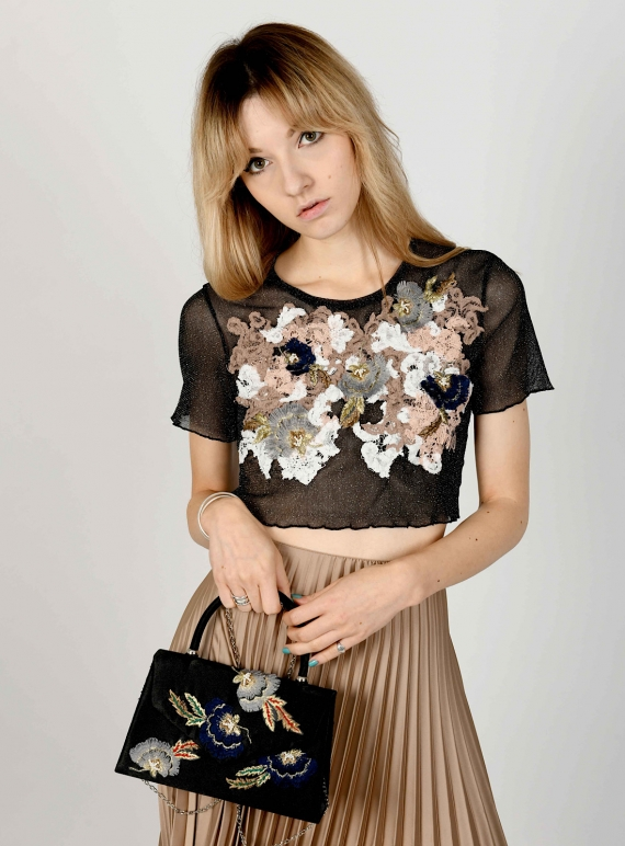 Young British Designers: GEORGIE Black Hand-Embellished Mesh Top by Sophie Pittom
