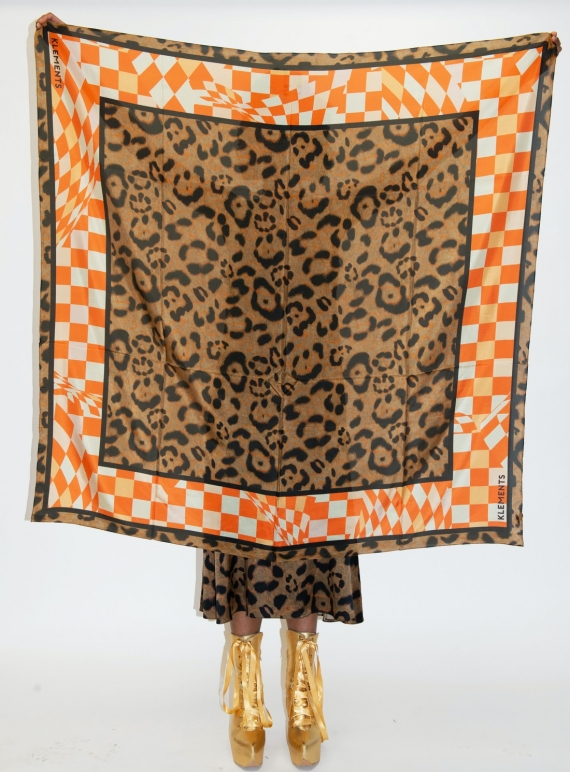 Young British Designers: Large Silk Scarf: LABRYNTH & JAGUAR PRINT by Klements