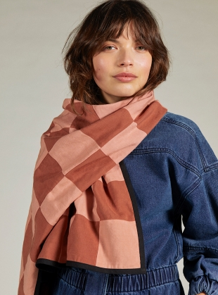Young British Designers: VIVI SCARF. Patchwork Pink/Rust by SIDELINE