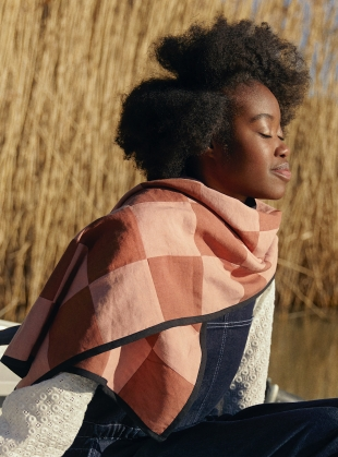 VIVI SCARF. Patchwork Pink/Rust by SIDELINE