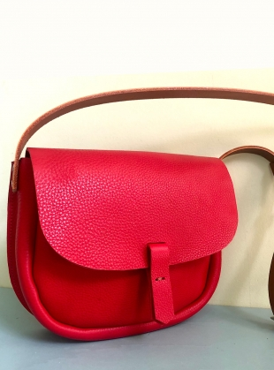 Young British Designers: IZA Satchel. Happy Red with Tan Strap by Als London