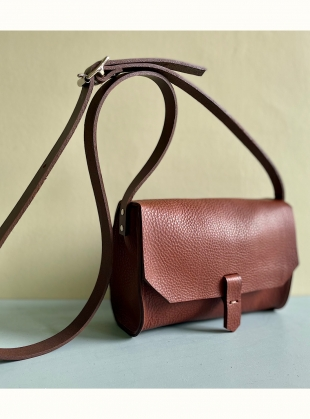 RENE SATCHEL. Tan with Chocolate Strap by Als London