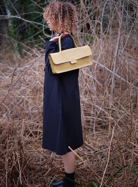Young British Designers: Chartreuse HOLD TAB BAG by Kate Sheridan