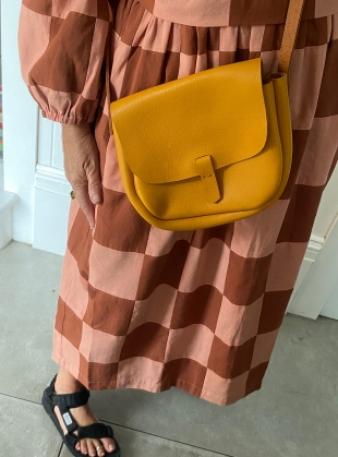Young British Designers: IZA Satchel. Sunshine Yellow with Tan Strap by Als London