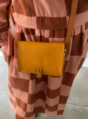 Young British Designers: ISLA MINI SATCHEL. Sunshine Yellow with Tan Strap by Als London