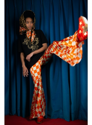 Young British Designers: FLEET FLARES. Labrynth Print. Silk Satin by Klements