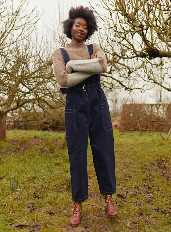 Young British Designers: NANCY DUNGAREES. Navy by SIDELINE