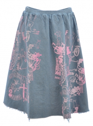 Young British Designers: DENIM SKIRT with DRAWINGS. Light Blue by Simeon Farrar