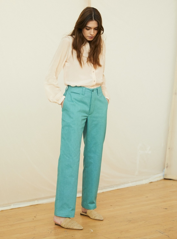 Young British Designers: MAGGIE COTTON DRILL TROUSER. Green by Tallulah & Hope