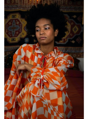 Young British Designers: MAUDIE DRESS. Labrynth Print. Silk Chiffon by Klements
