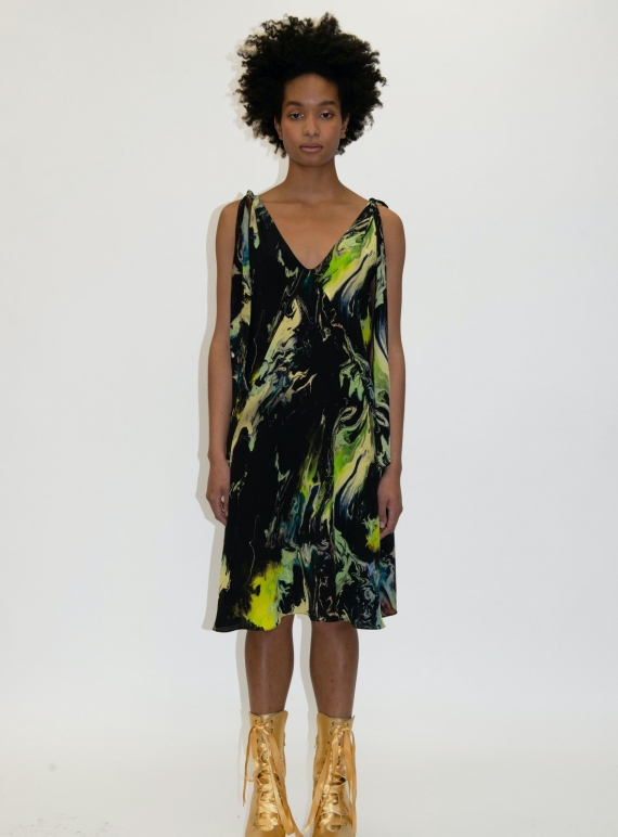 Young British Designers: ATLAS TIE SILK DRESS. Psychriver Print  by Klements