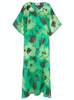 Young British Designers: CHIFFON KAFTAN. Poisoned Poppy Print by Klements