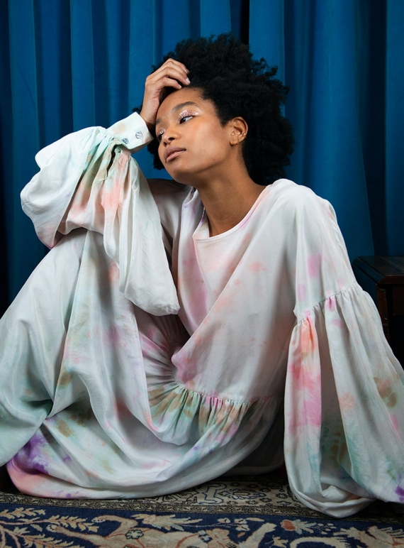 Young British Designers: DUSK CLOUD DRESS in Hand-Dyed Silk by Klements