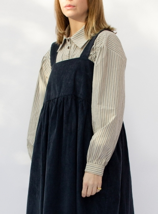 Young British Designers: ELBA 11 WALE BRITISH CORD DRESS. Petrol by Cawley
