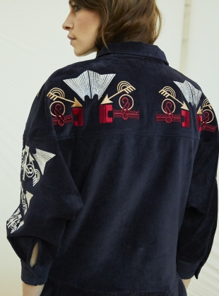 Young British Designers: EMBROIDERED VELVET RIVER DRESS. Navy  by Tallulah & Hope
