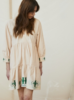 Young British Designers: JULIET SHORT TIERED EMBROIDERED CORD DRESS. Blush Pink  by Tallulah & Hope