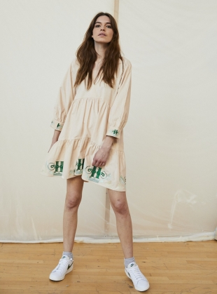 JULIET SHORT TIERED EMBROIDERED CORD DRESS. Blush Pink  by Tallulah & Hope