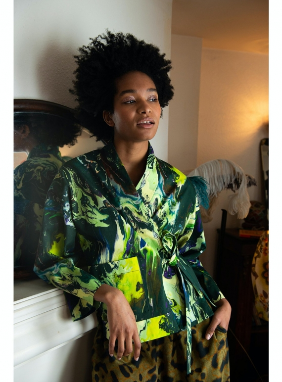 Young British Designers: FLASK REVERSIBLE COTTON JACKET. Psychriver Print by Klements