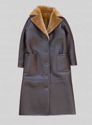 ANNIE REVERSIBLE SHEEPSKIN COAT. Chocolate/Tan by Cawley