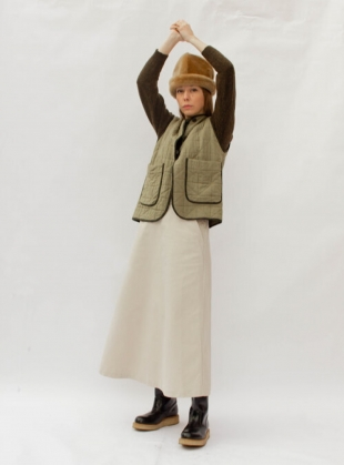Young British Designers: ELLA QUILTED VEST. Rushes. by Cawley