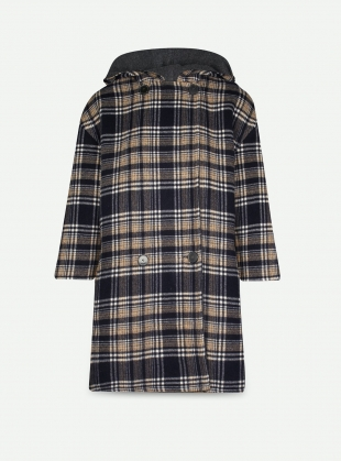 Young British Designers: Hooded Heligan Navy Check Coat by Teija Eilola