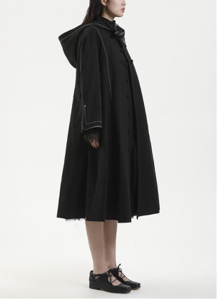 Young British Designers: HOODED TRENCH COAT. Black by Renli Su