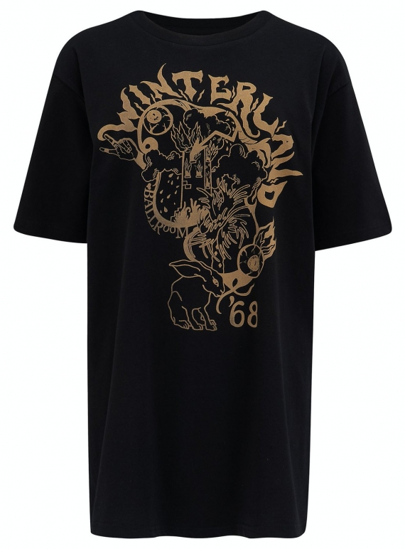 Young British Designers: WINTERLAND T-SHIRT. Gold/Black (Last One L) by Klements