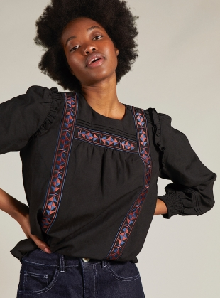 AGNES EMBROIDERED TOP. Black by SIDELINE