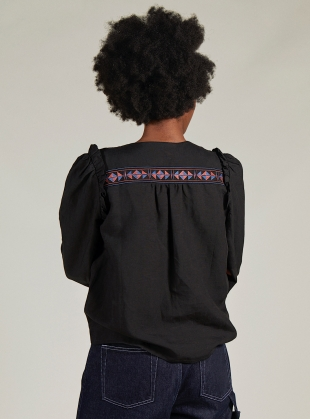 Young British Designers: AGNES EMBROIDERED TOP. Black by SIDELINE