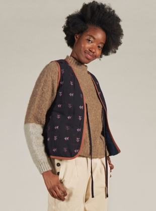 Young British Designers: FIN EMBROIDERED VEST. Black  by SIDELINE