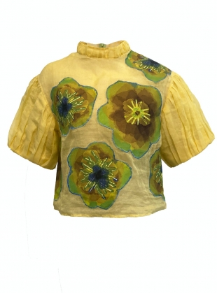 ADALFA EMBELLISHED TOP. Yellow Multi by Anciela
