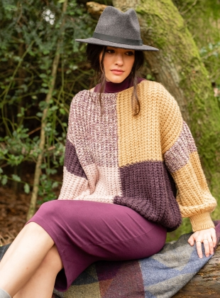 Young British Designers: LAURA CHUNKY PATCHWORK JUMPER. Plum by Cara & The Sky