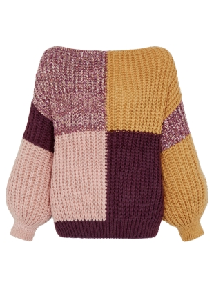 LAURA CHUNKY PATCHWORK JUMPER. Plum by Cara & The Sky