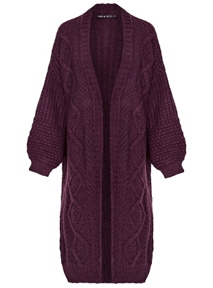 Young British Designers: STEVIE MAXI CARDIGAN. Plum by Cara & The Sky