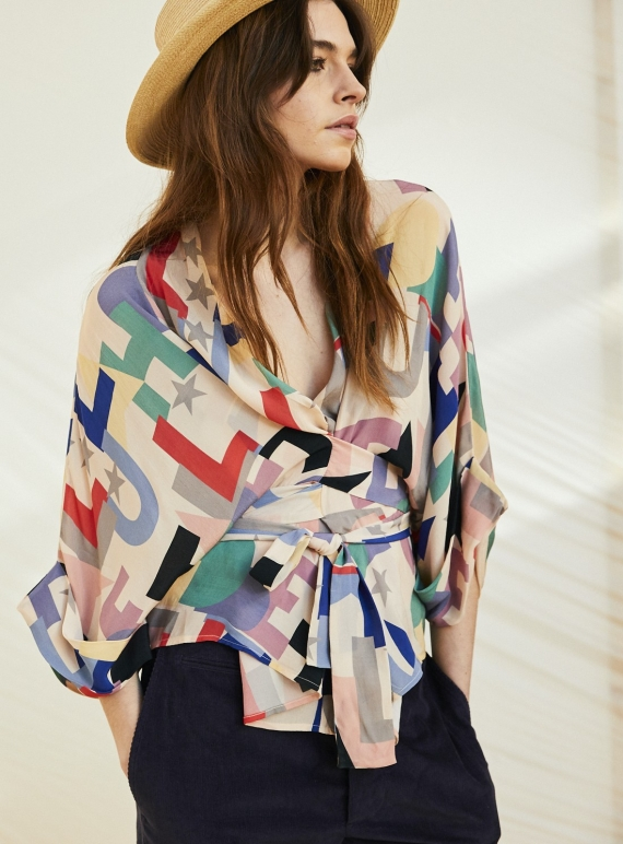 Young British Designers: GLORIA WRAP BLOUSE. Hope 1 Print by Tallulah & Hope