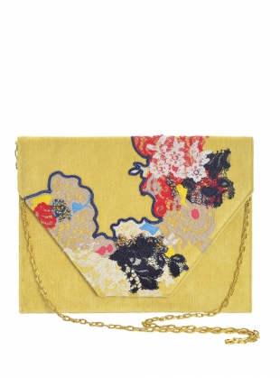 Poppy Hand Embellished Clutch. Soft Yellow. - last one by Sophie Pittom