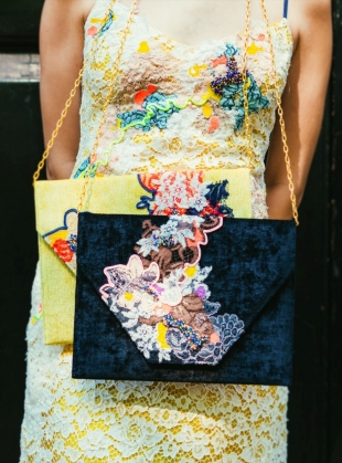 Young British Designers: Poppy Hand Embellished Clutch. Navy. - Sold out by Sophie Pittom