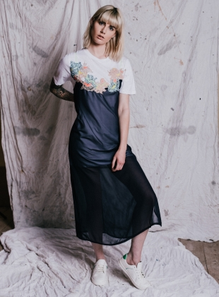 KARA T-Shirt Dress with Chiffon Overlay. Navy. by Sophie Pittom